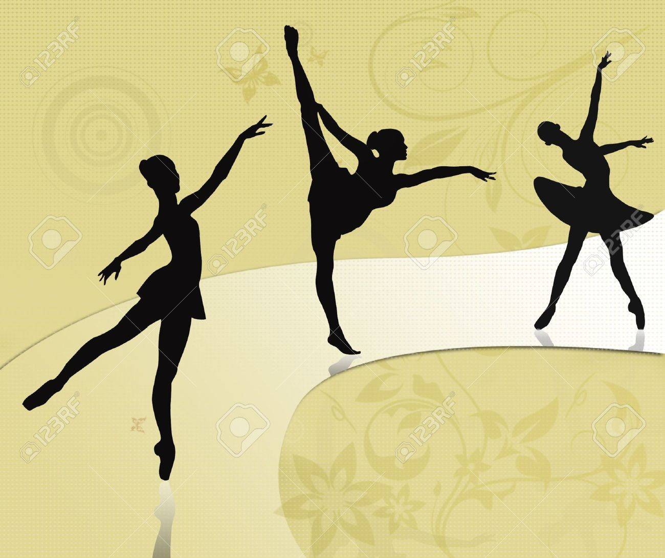 Vintage card with ballet dancers Stock Photo - 9773045