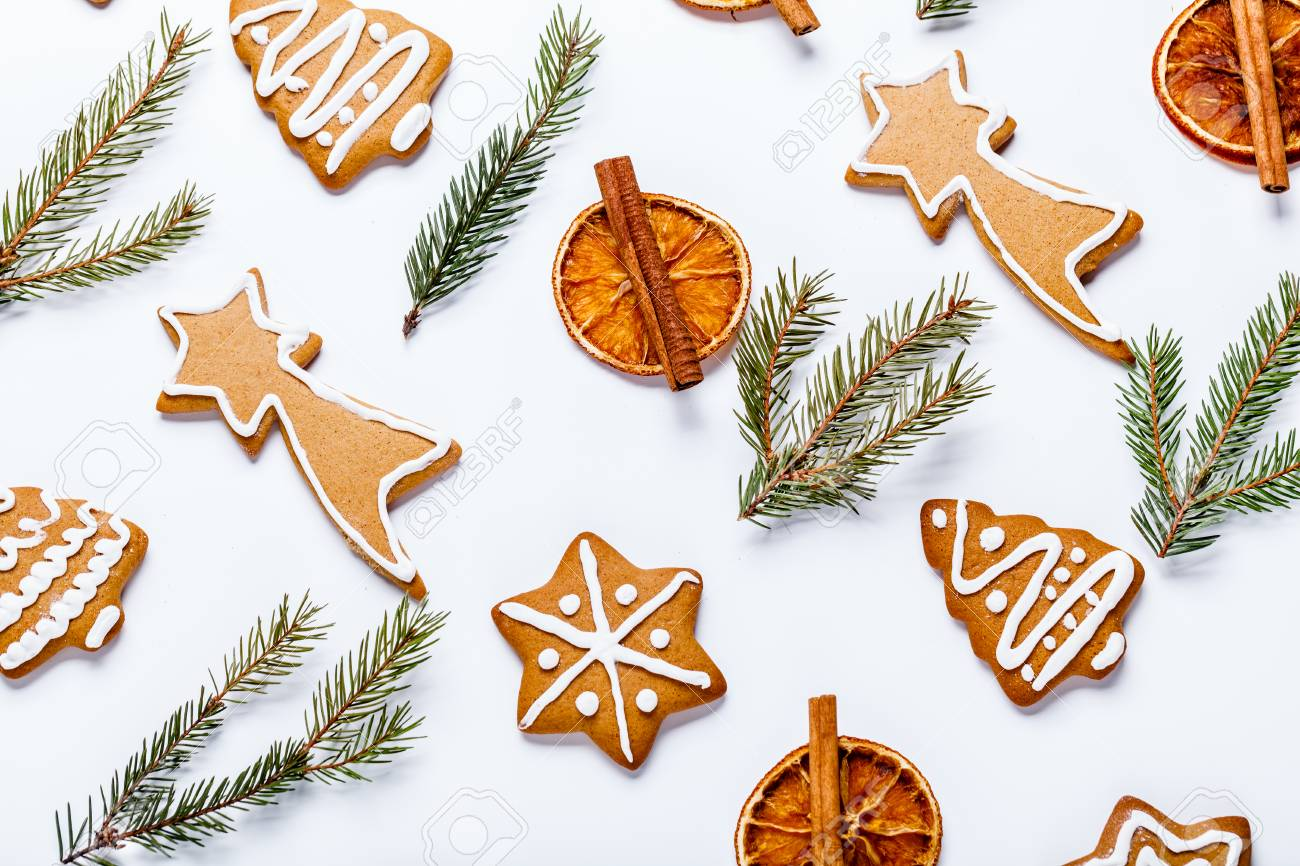 Flat Lay Of Christmas Cookies, Dried Orange And Fir Branches.. Stock ...
