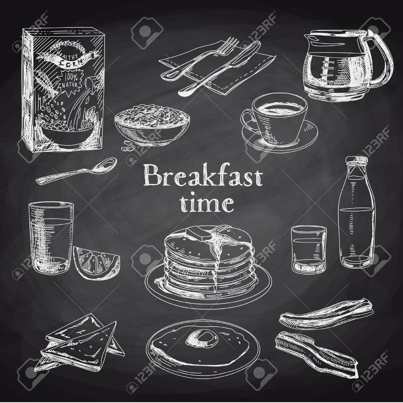 Vector breakfast hand drawn set. Vintage illustration. Chalkboard. - 43333001