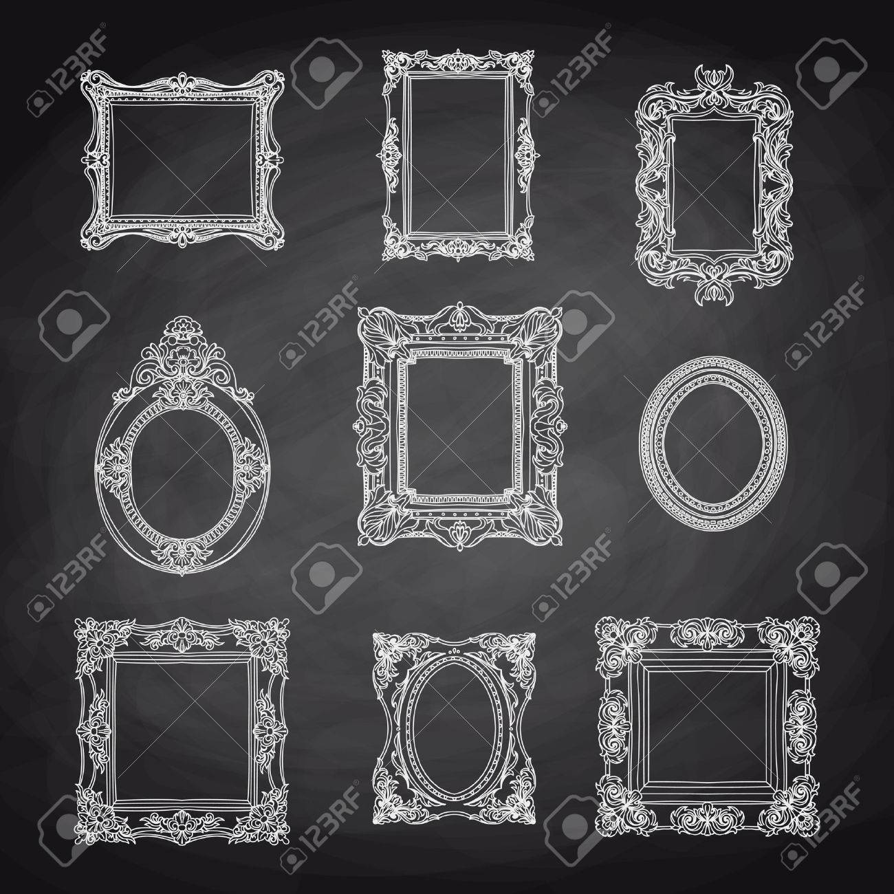 Vector Vintage Hand Drawn Set With Picture Frames. Retro ...