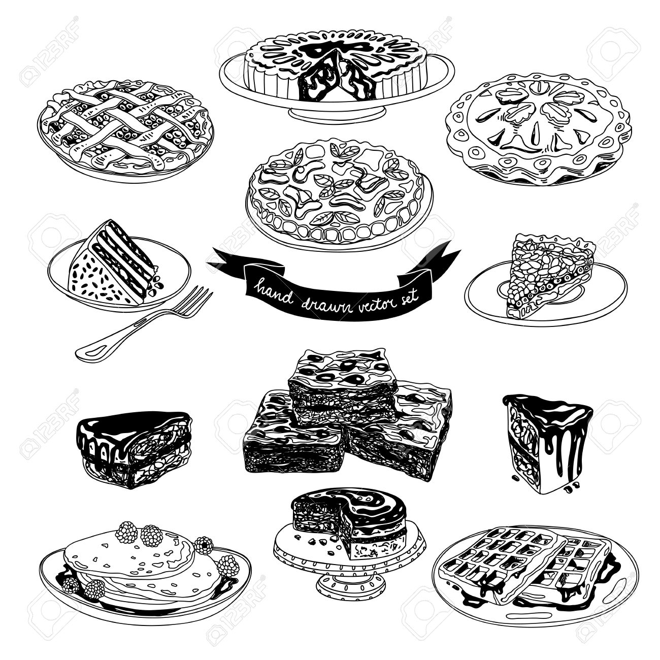 Vector hand drawn set with cakes and sweets  Sweets illustration