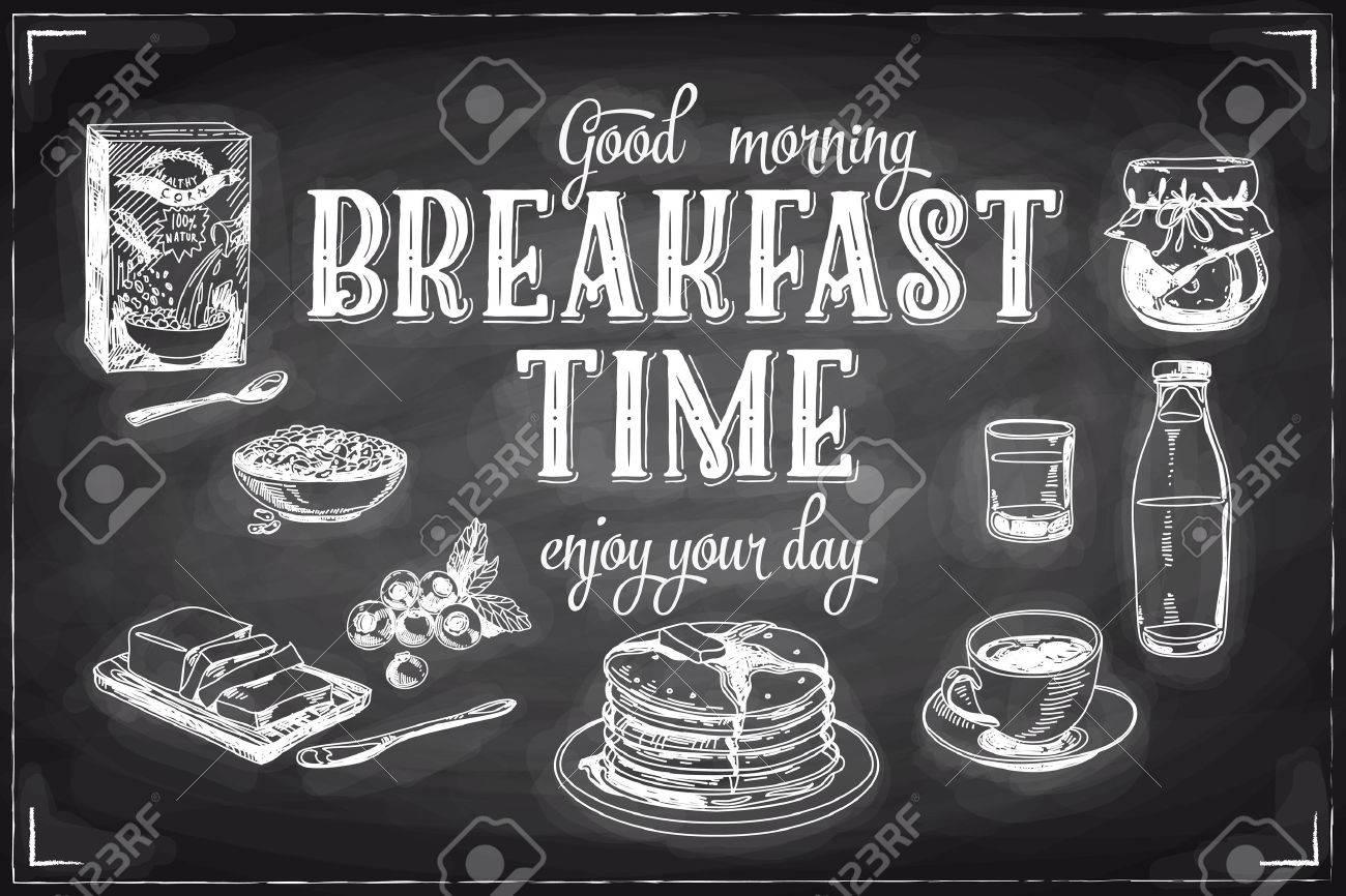 Vector hand drawn breakfast and branch background on chalkboard. Menu illustration. - 43333173