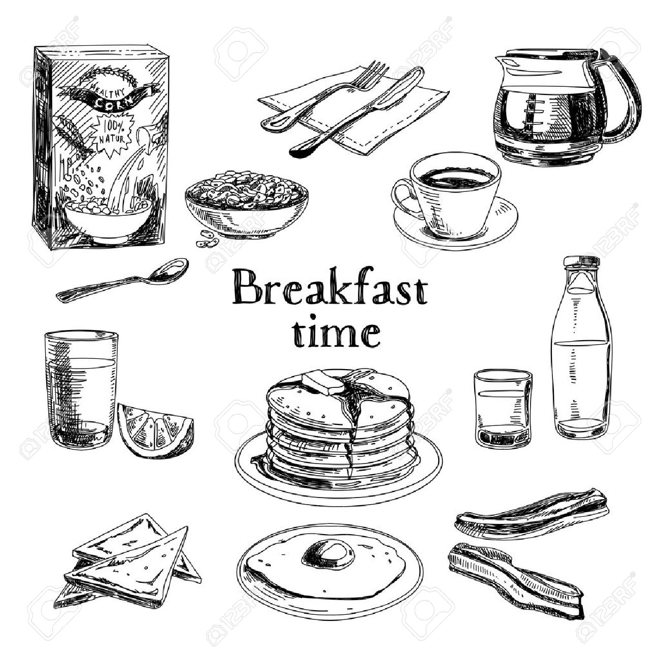 Vector breakfast hand drawn set. Vintage illustration. Sketch. - 43333178