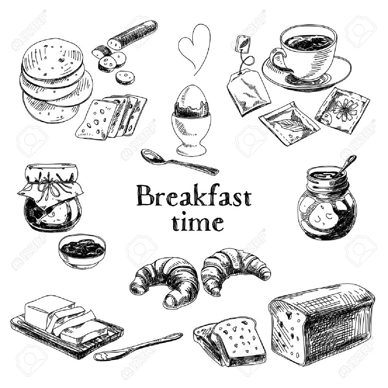Vector breakfast hand drawn set. Vintage illustration. Sketch. - 43333179