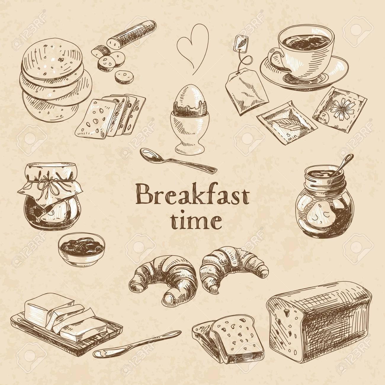 Vector breakfast hand drawn set. Vintage illustration. Sketch. - 43333181
