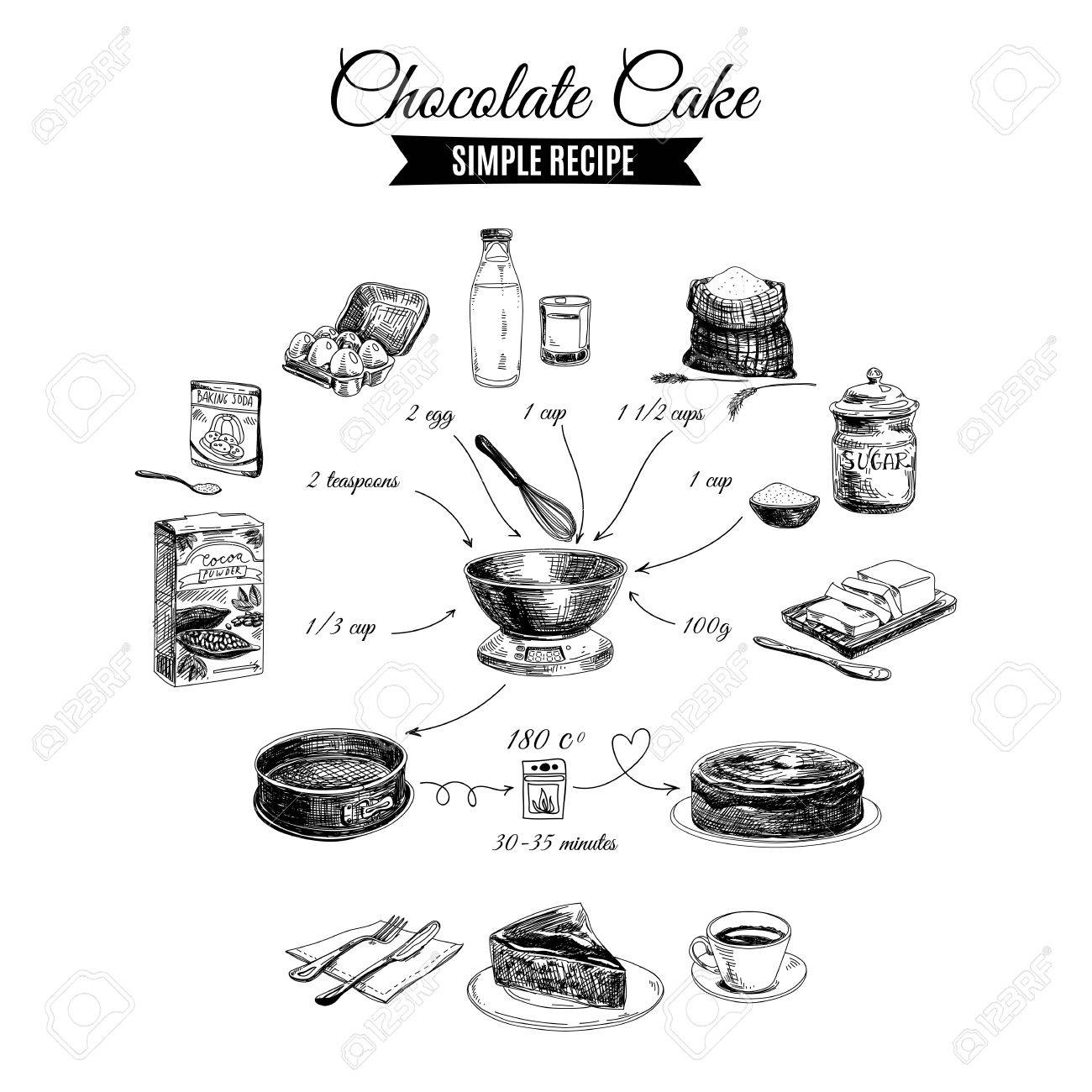Vector Hand Drawn Chocolate Cake Illustration. Sketch. Simple ...
