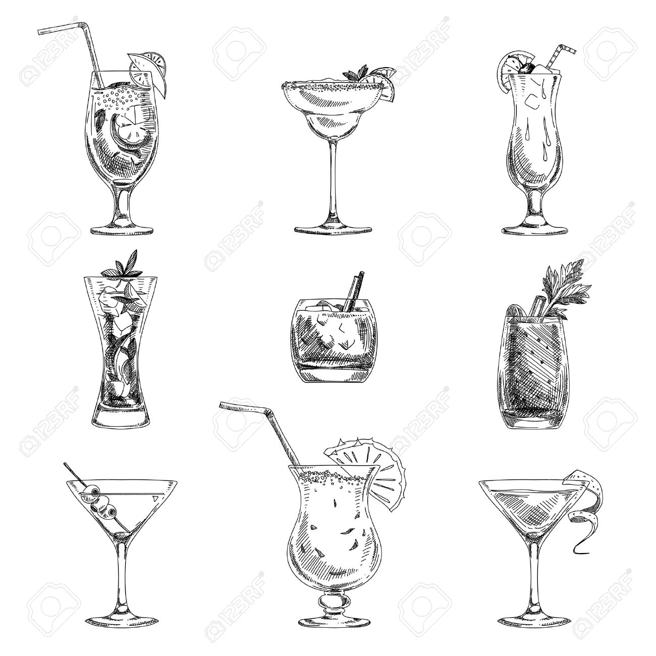 Vector hand drawn set of cocktails and alcohol drinks. Sketch. - 43333263