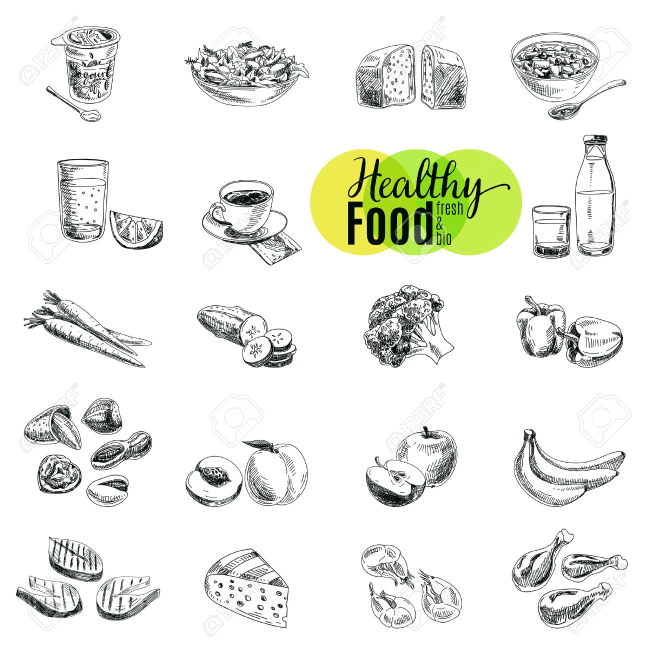 Vector set of healthy food. Vector illustration in sketch style. Hand drawn design elements. Stock Vector - 43333282