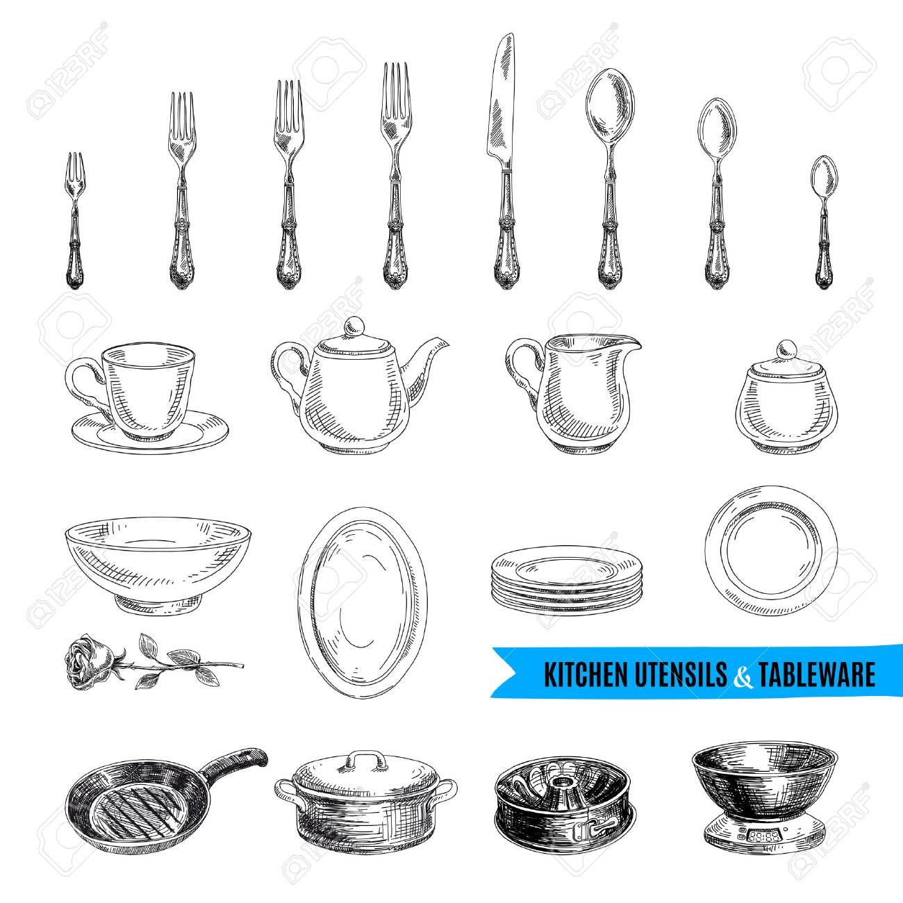 archivio fotografico vector a mano illustrazione disegnata con gli strumenti della cucina schizzo