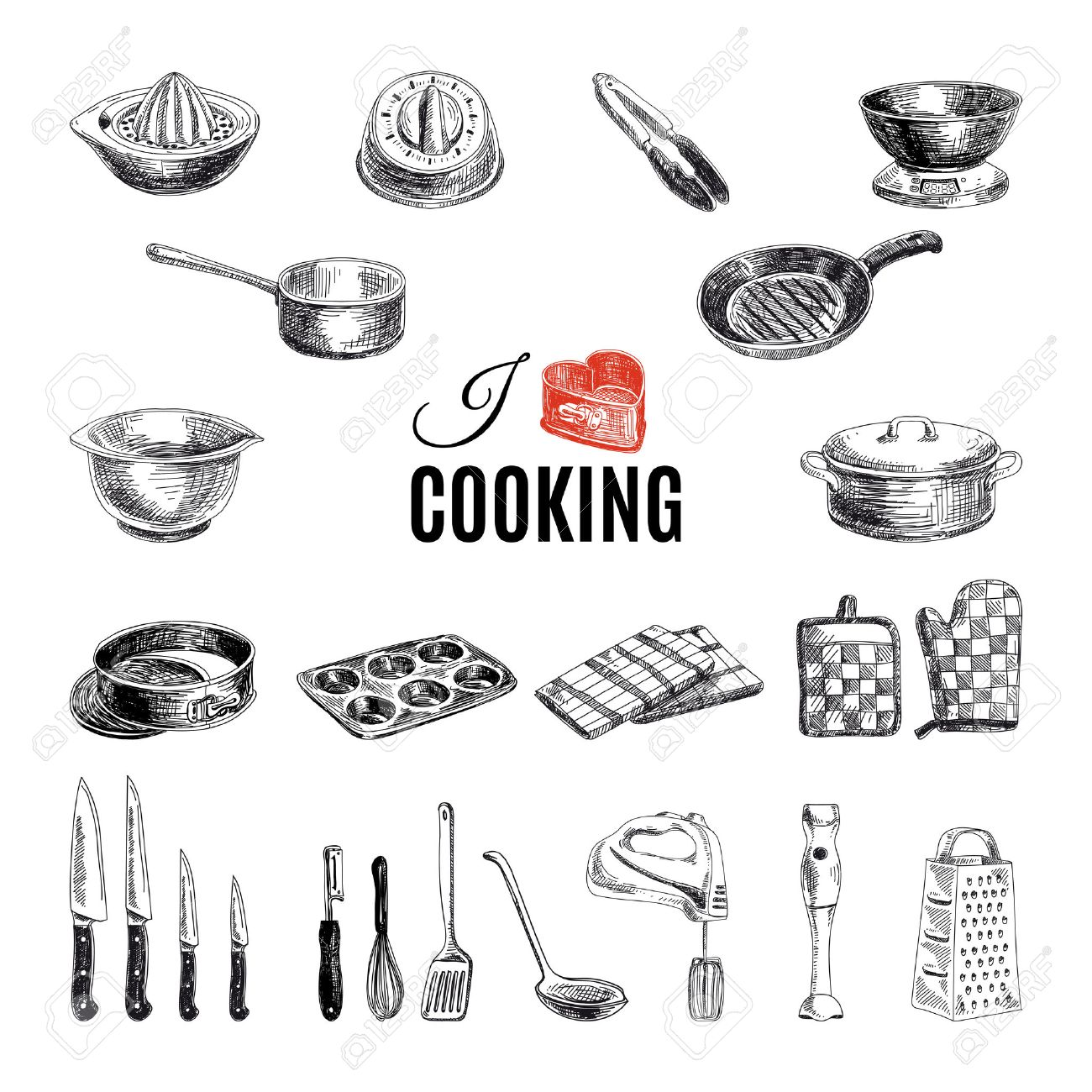 Vector hand drawn illustration with kitchen tools. Sketch. - 43333367