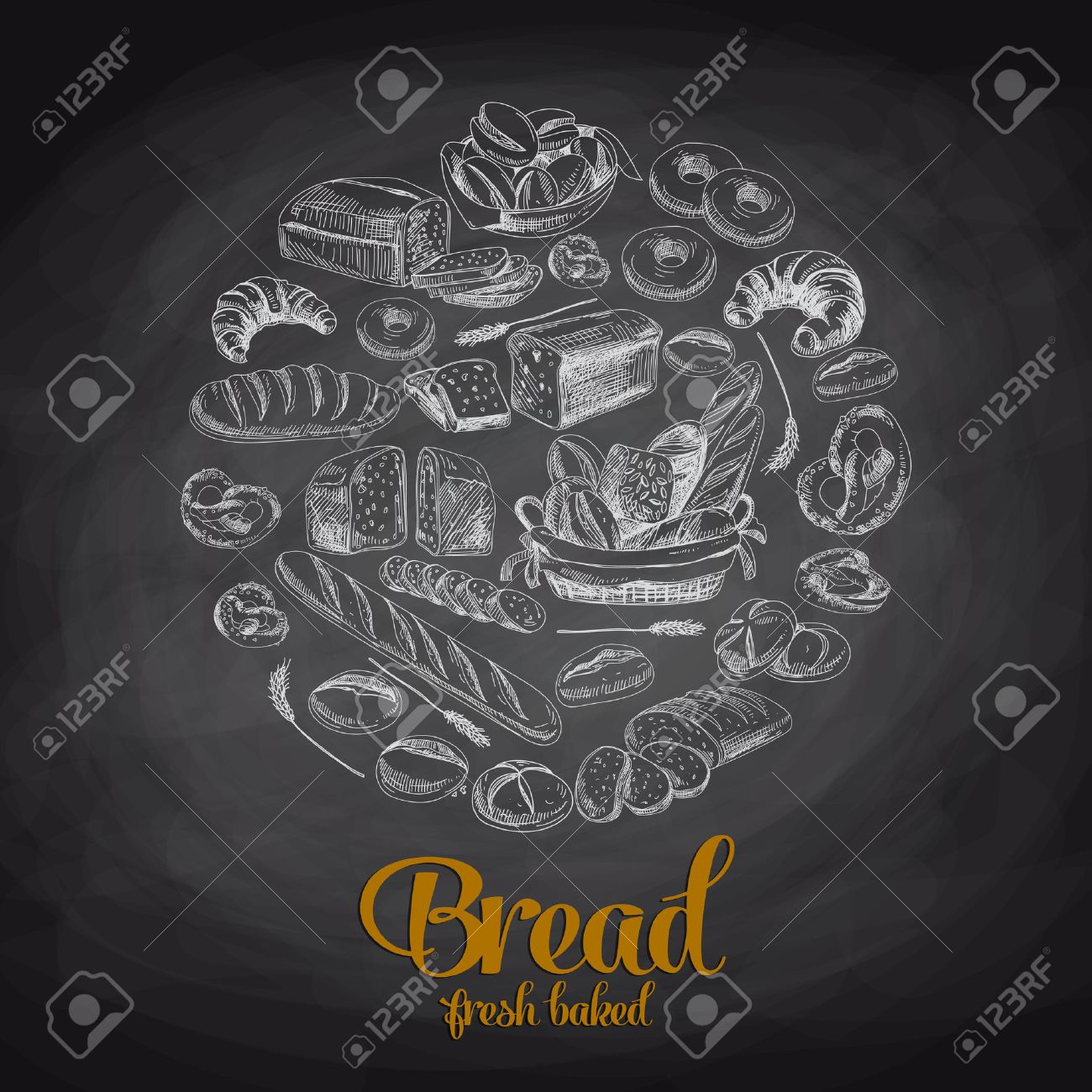 Hand Drawn Vector Illustration With Bread Sketch Chalkboard Stock