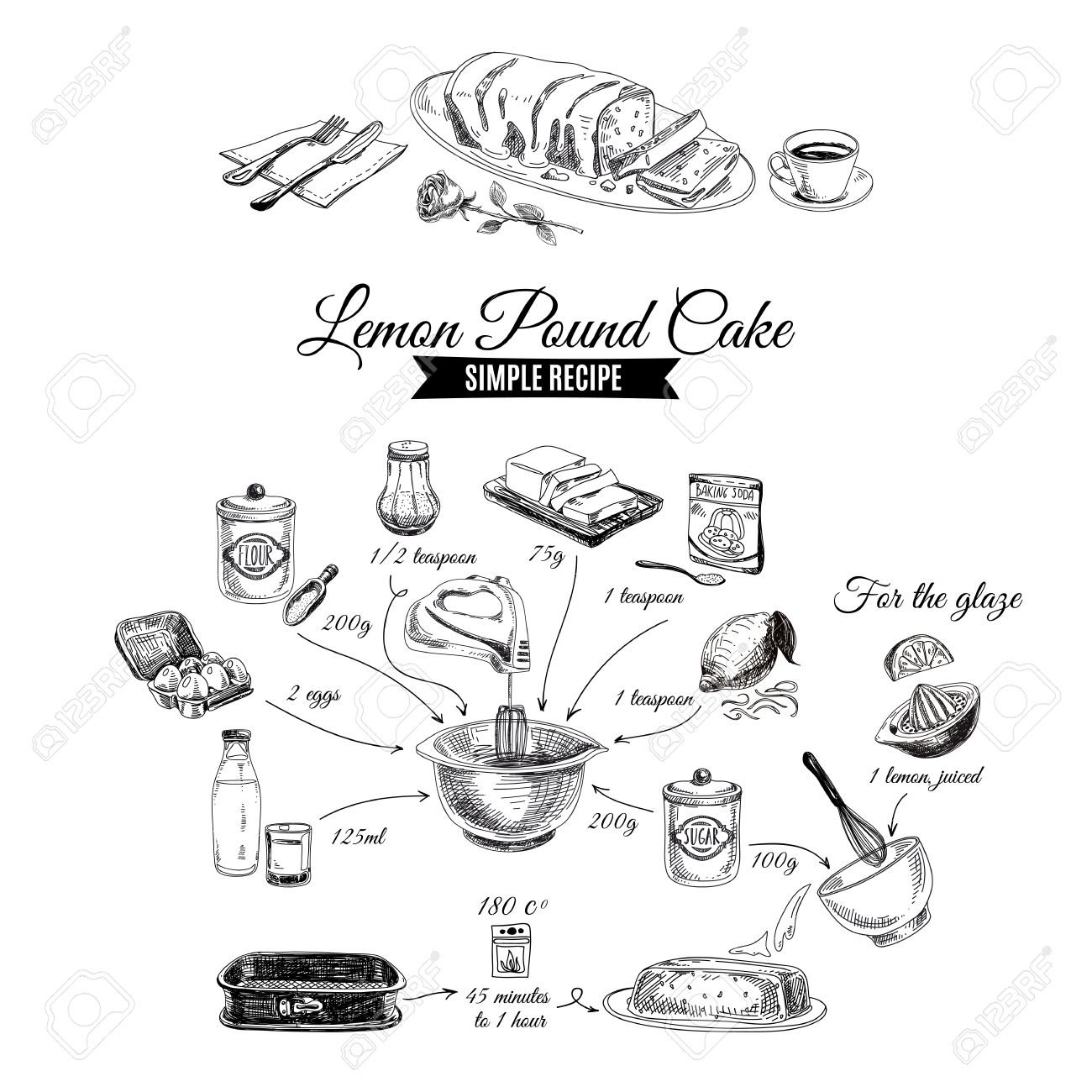 Vector Hand Drawn Lemon Cake Illustration Sketch Simple Lemon