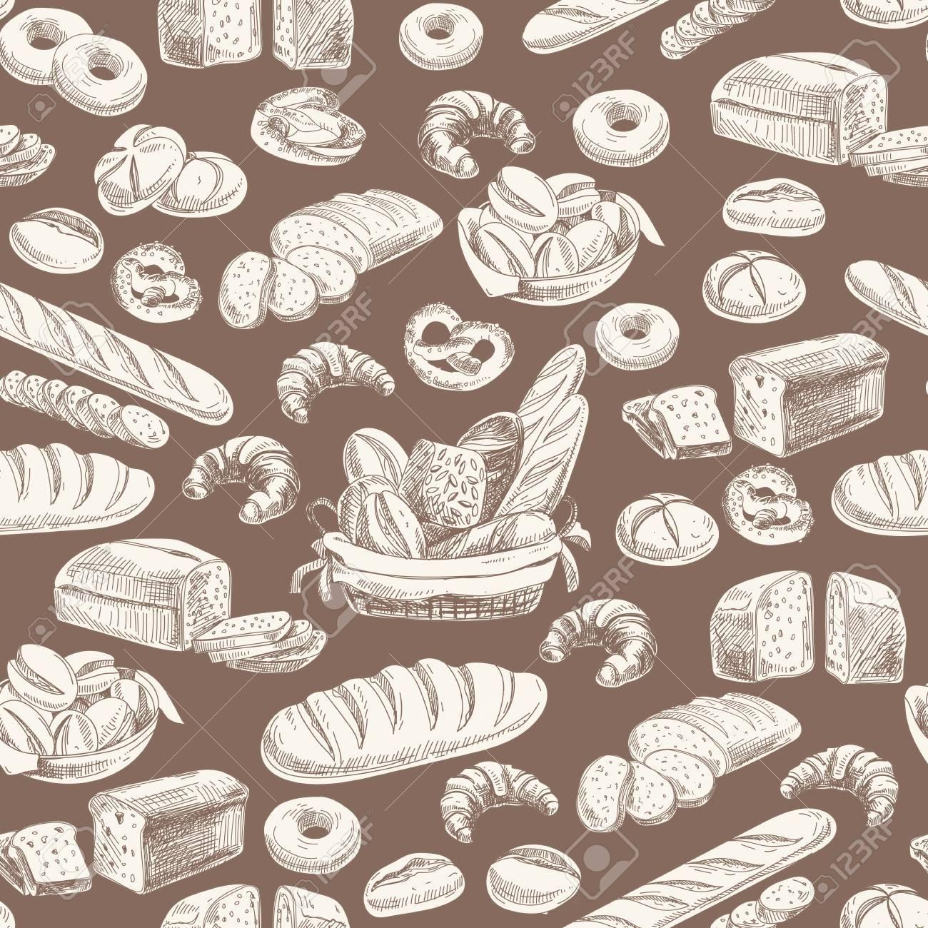 Vector bakery retro seamlrss pattern. Vintage Illustration. Sketch - 49424369