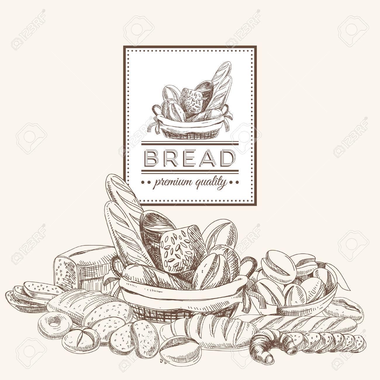 Vector bakery retro background. Vintage Illustration with bread. Sketch. - 49424377