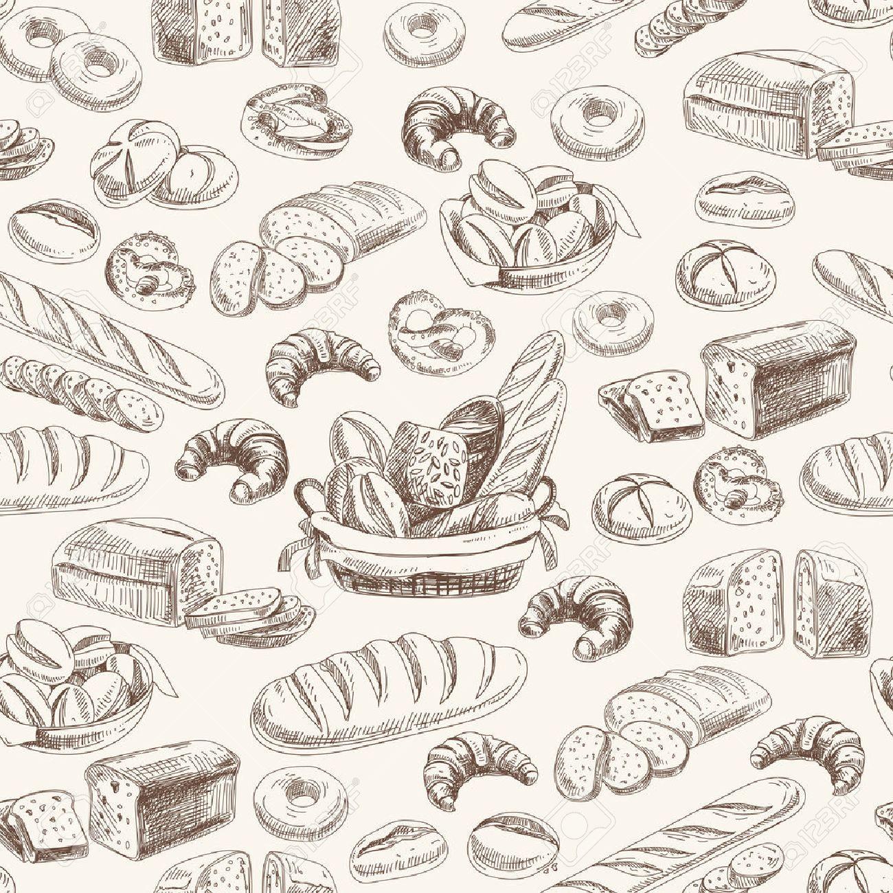 Vector bakery retro seamlrss pattern. Vintage Illustration. Sketch - 49424383
