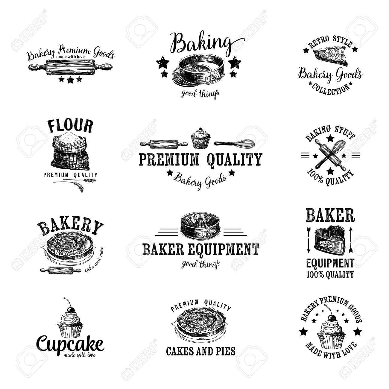Vector set of bakery icon, labels, badges and design elements. Retro.Vintage. - 49424455