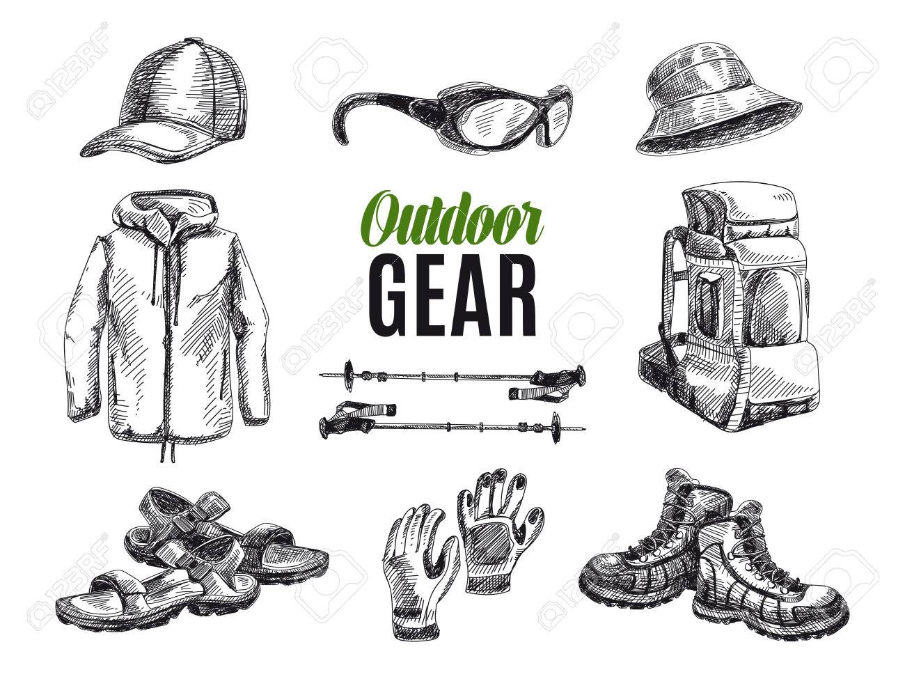 Vector set of highly detailed hand drawn camping stuff. Vintage signs collection. - 49425154