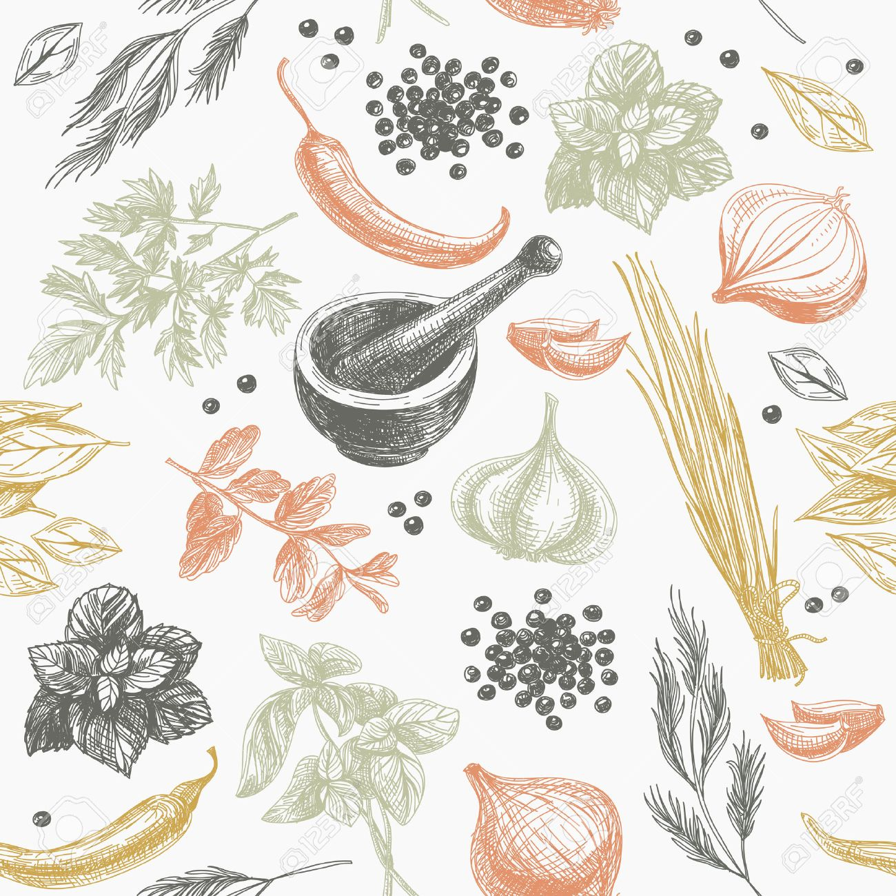 Vector seamless pattern with herbs and spices. Modern stylish texture. Repeating abstract background. - 49425232
