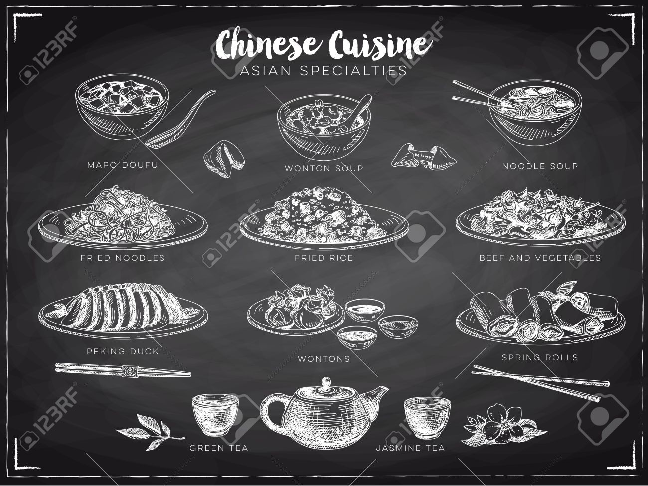 Vector hand drawn illustration with chinese food. Sketch. Chalkboard. Stock Vector - 49425065