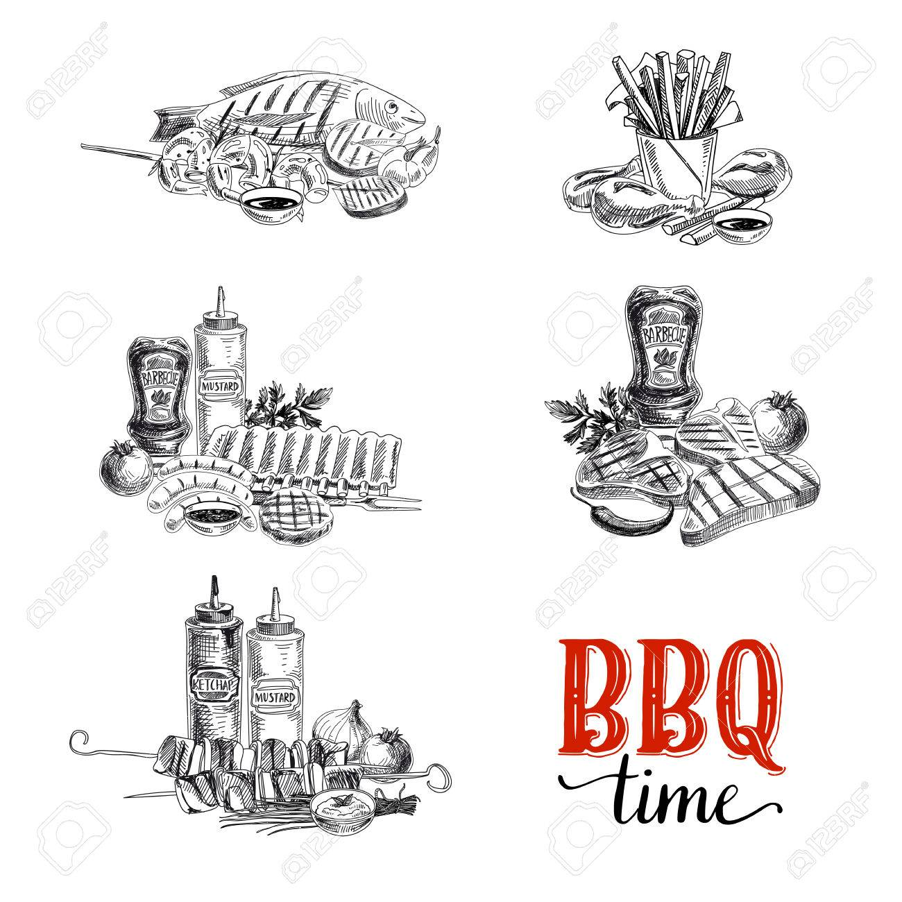 Vector set of barbecue and grill elements. Vector illustration in sketch style. Hand drawn design elements. - 49425279