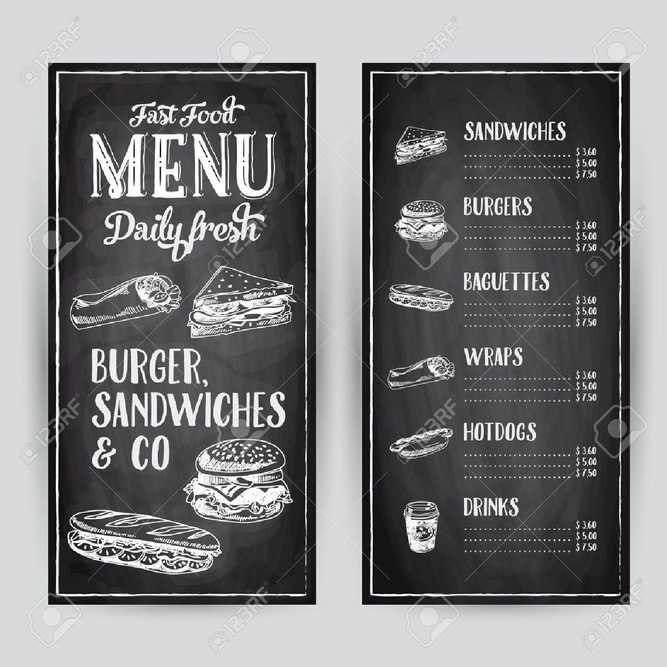 Vector hand drawn illustration with fast food. Restaurant menu. Chalkboard. Sketch. - 49425282