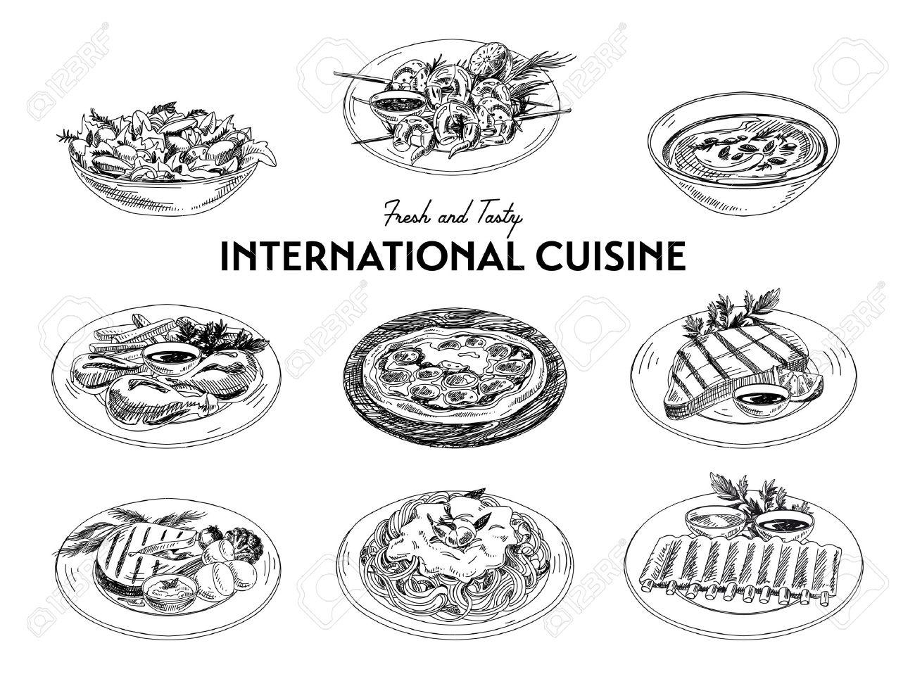 Vector hand drawn sketch international cuisine set. Restaurant food. Retro illustration. - 49425321
