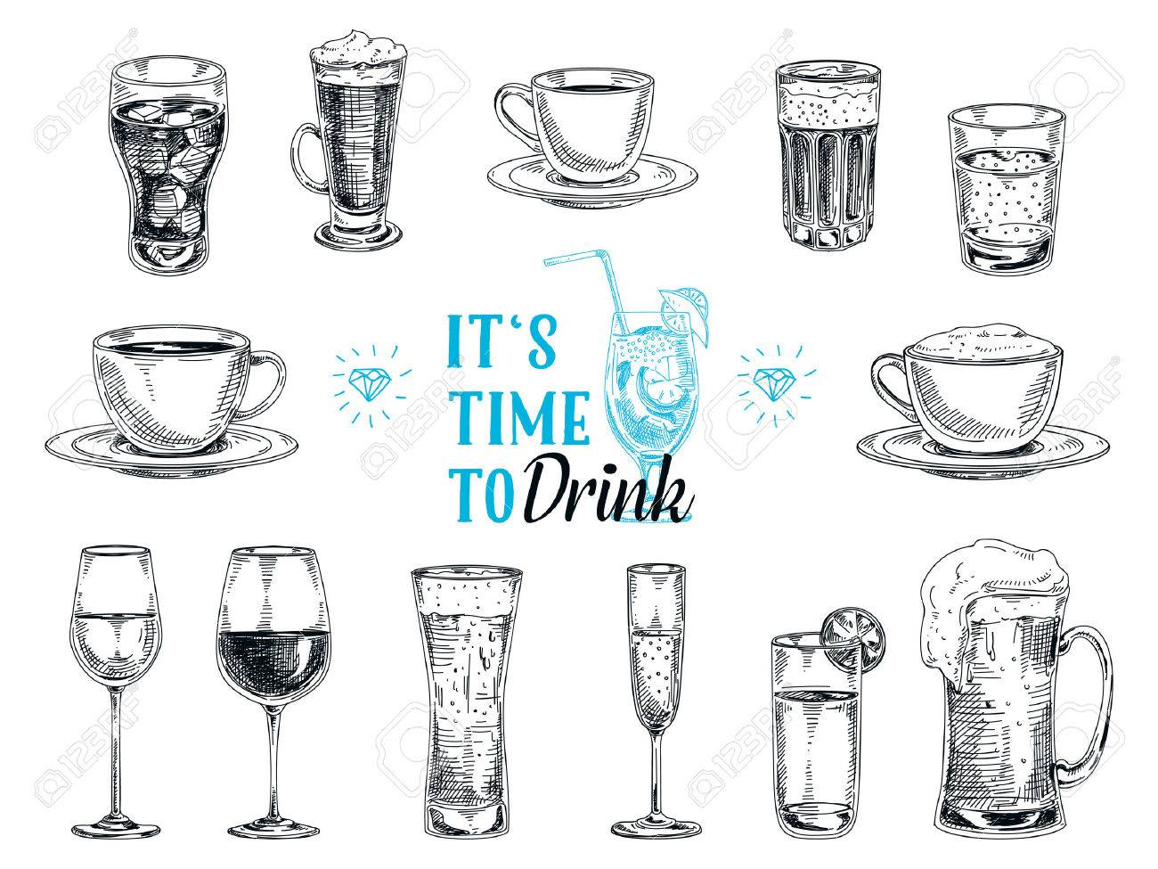 Vector hand drawn illustration with drinks. Sketch. - 49810247