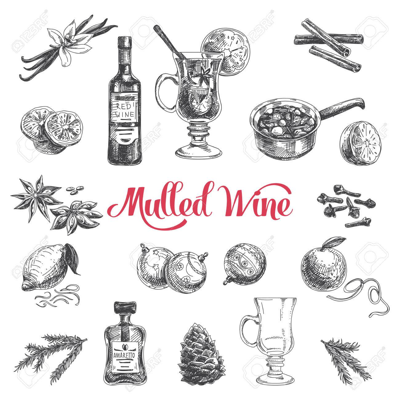 Vector hand drawn illustration with mulled wine. Sketch. - 49810252