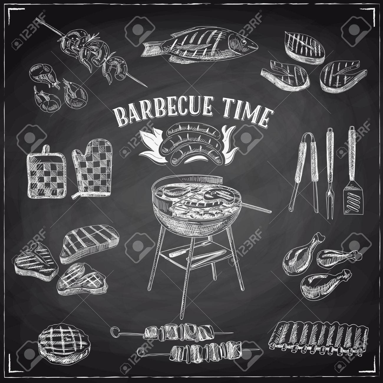 Vector set of barbecue and grill elements. Vector illustration in sketch style. Hand drawn design elements. Chalkboard - 55938182