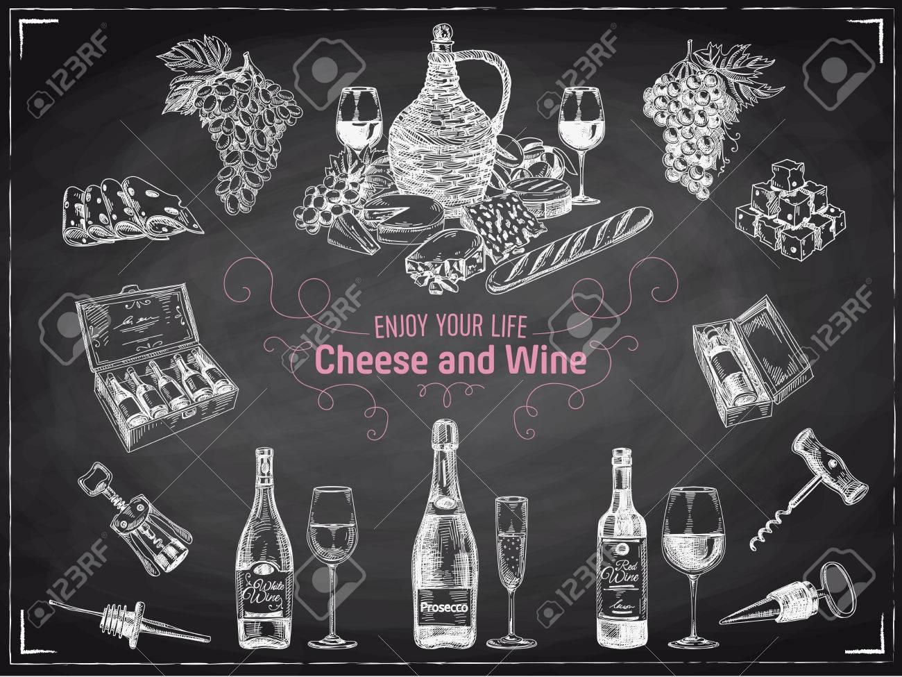 Vector hand drawn wine set. Wine illustration. Chalkboard - 55939410