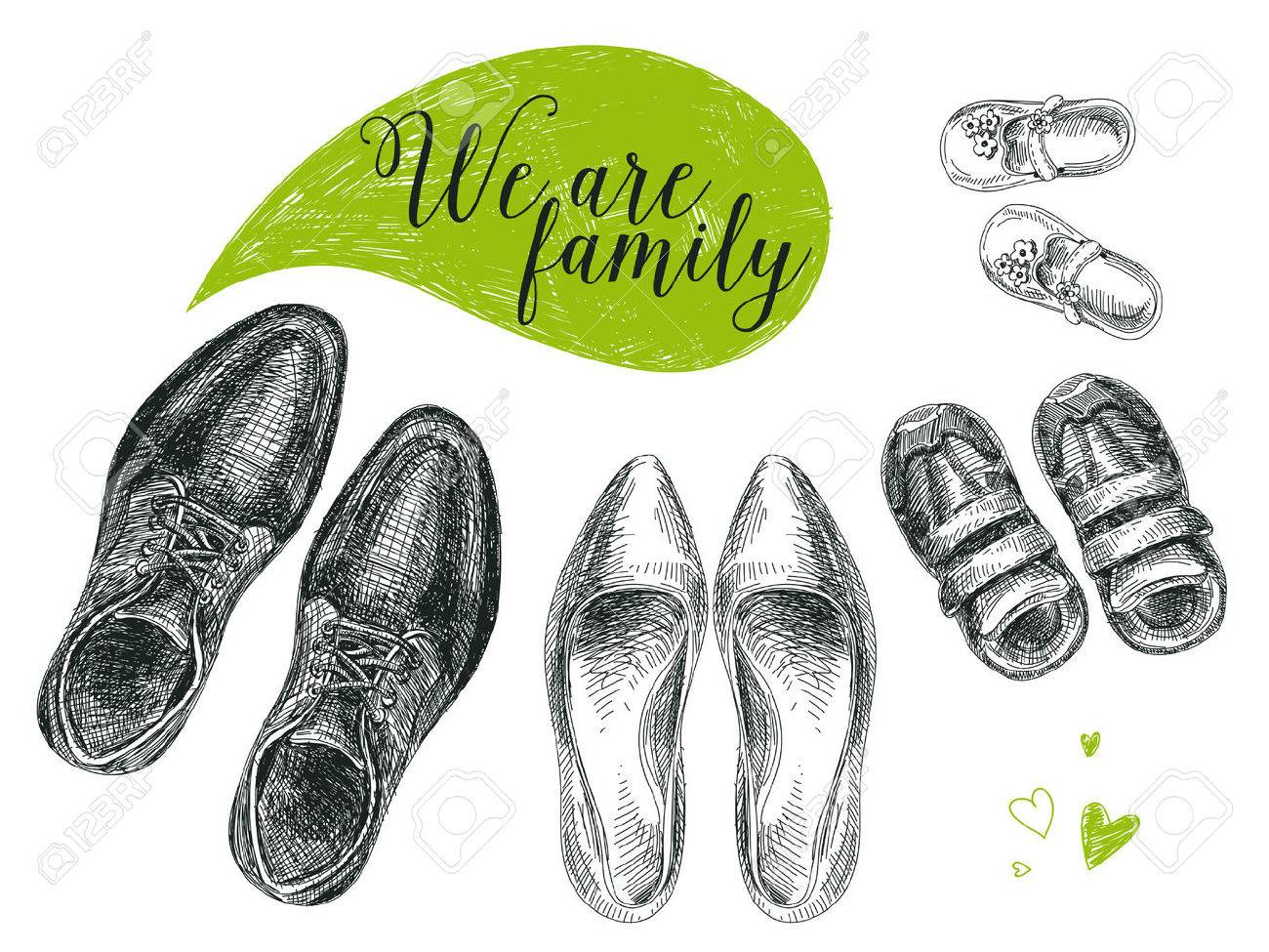 Vector hand drawn illustration with family shoes. Sketch. - 55939437