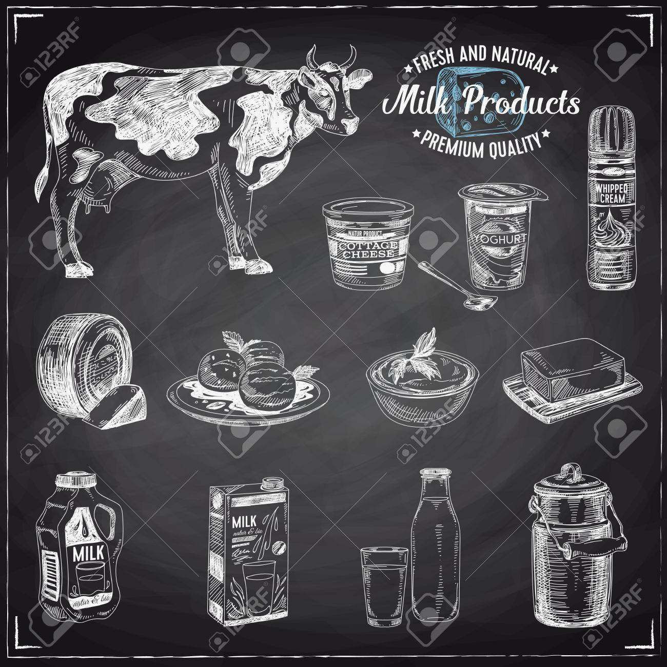Vector hand drawn Illustration with milk products. Sketch. Vintage style. Retro background. Chalkboard - 66667882