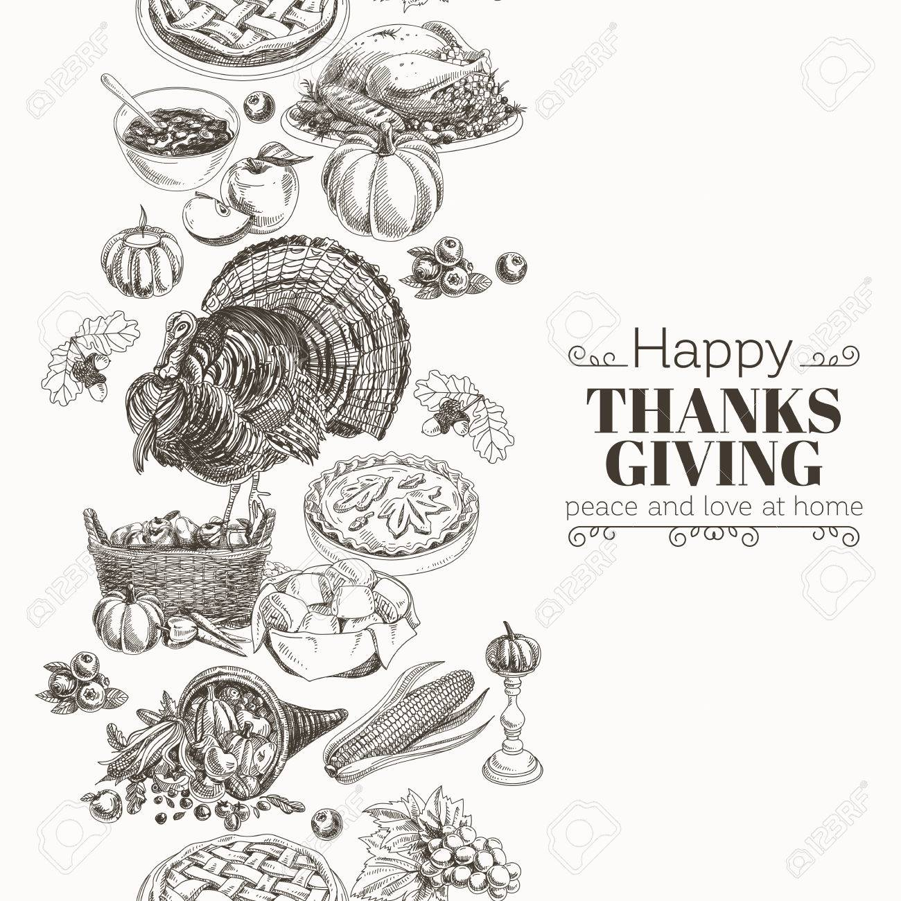 Vector Hand Drawn Thanksgiving Illustration Vintage Style Border Repeating Background Sketch Stock