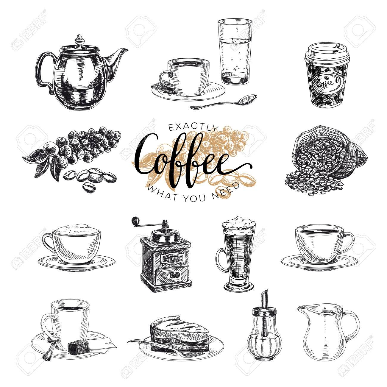 Vector hand drawn coffee set. Sketch illustration - 67580584