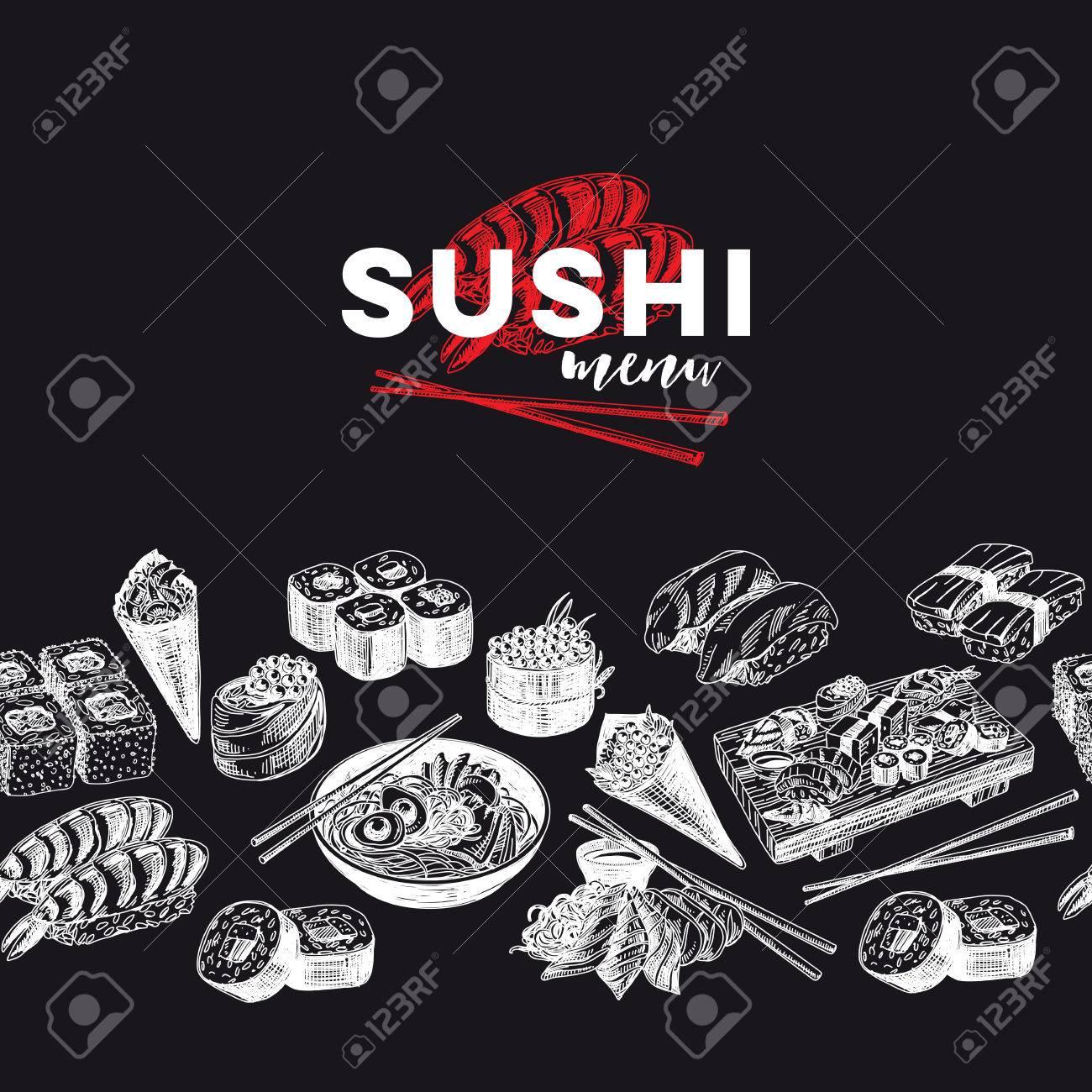 Vintage vector hand drawn Japanese food sketch Illustration.. Retro style Seamless border. repeating background. Sushi bar menu. Chalkboard design. - 84881699