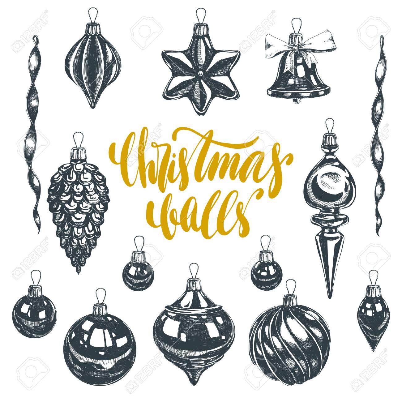 Christmas Ornament Vector.Beautiful Vector Hand Drawn Christmas Ornaments Illustrations
