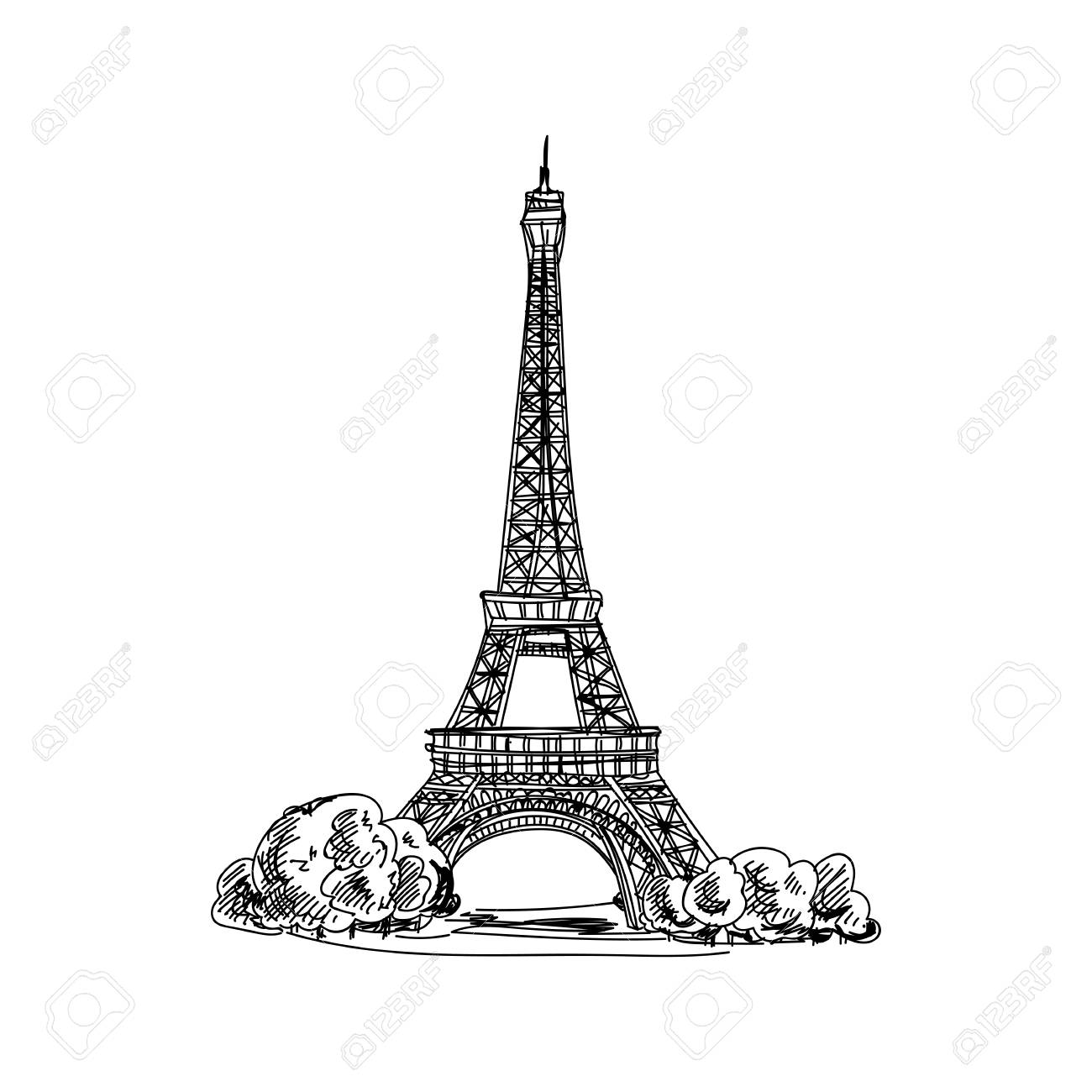 Beautiful vector hand drawn vintage france architecture Illustration. Detailed retro style images. Sketch element for labels and cards design. - 95011622