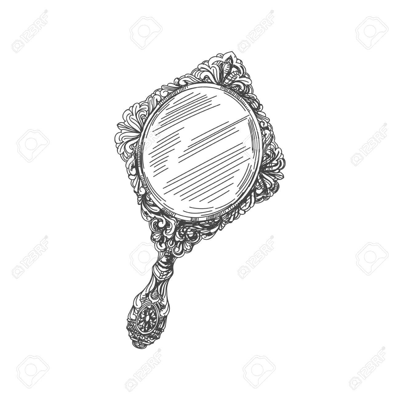 hand mirror sketch. Beautiful Vector Hand Drawn Vintage Mirror Illustration. Detailed Retro Style Image. Sketch Element K