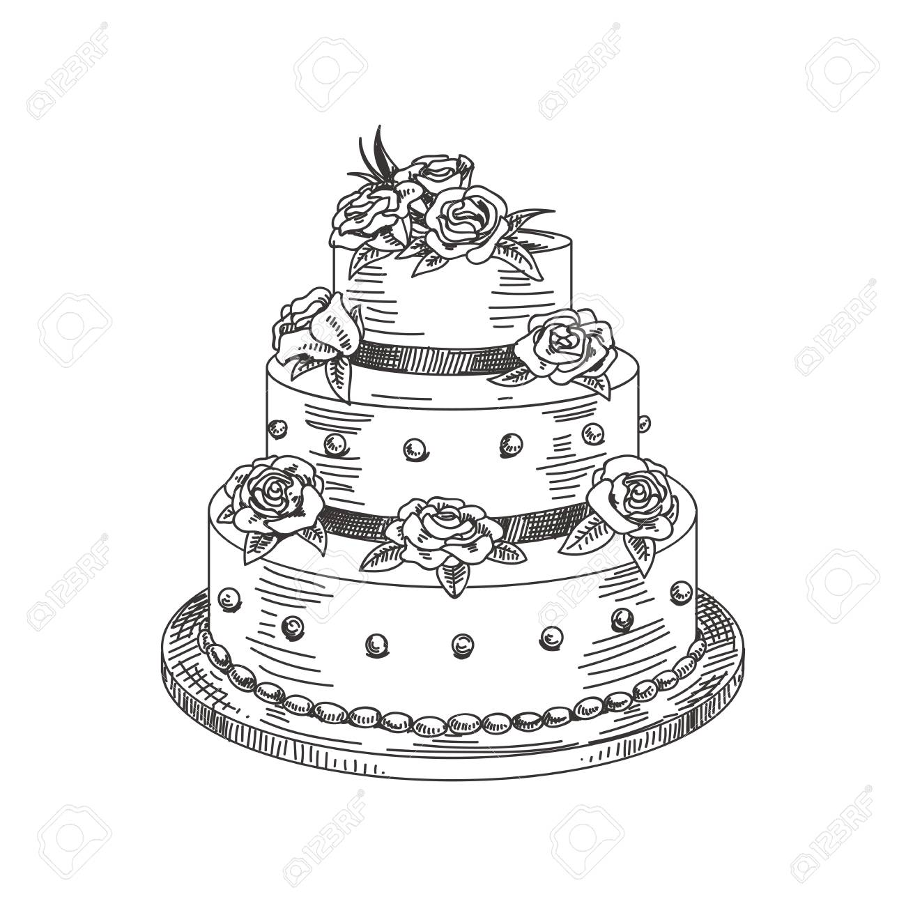 Beautiful Vector Hand Drawn A Wedding Cake Illustration Detailed