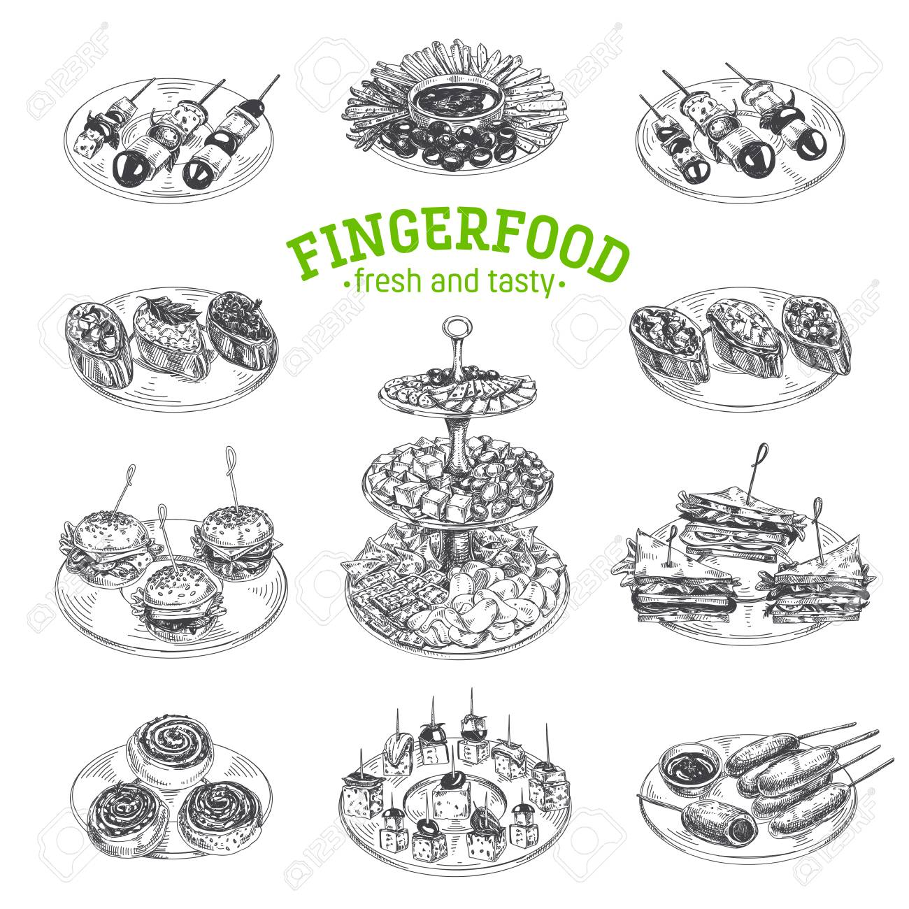 Beautiful vector hand drawn finger food Illustrations. Detailed retro style images. Vintage sketch elements for labels, packaging and cards design. Modern background. - 104284330