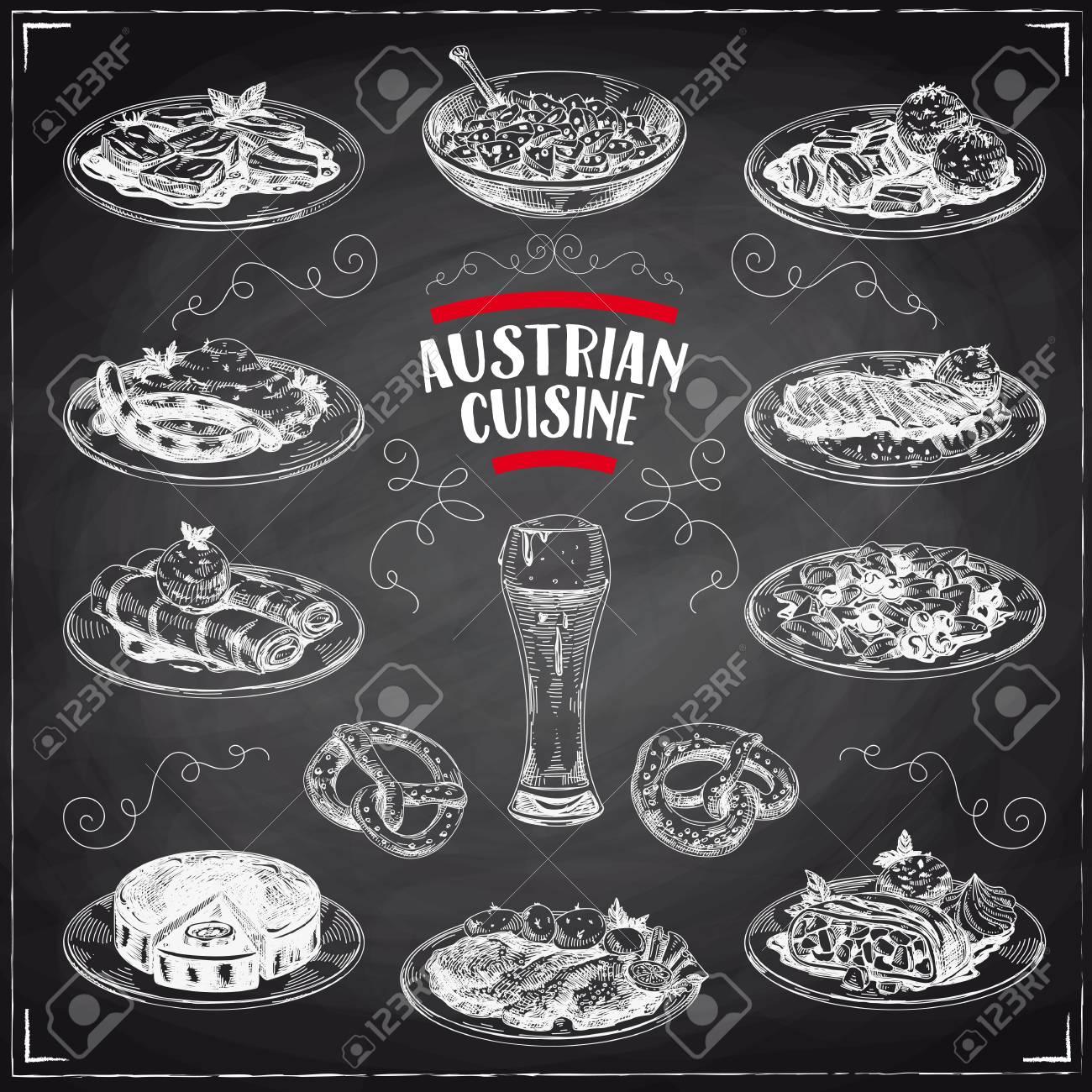 Beautiful Vector Hand Drawn Austrian Cuisine Illustrations Set