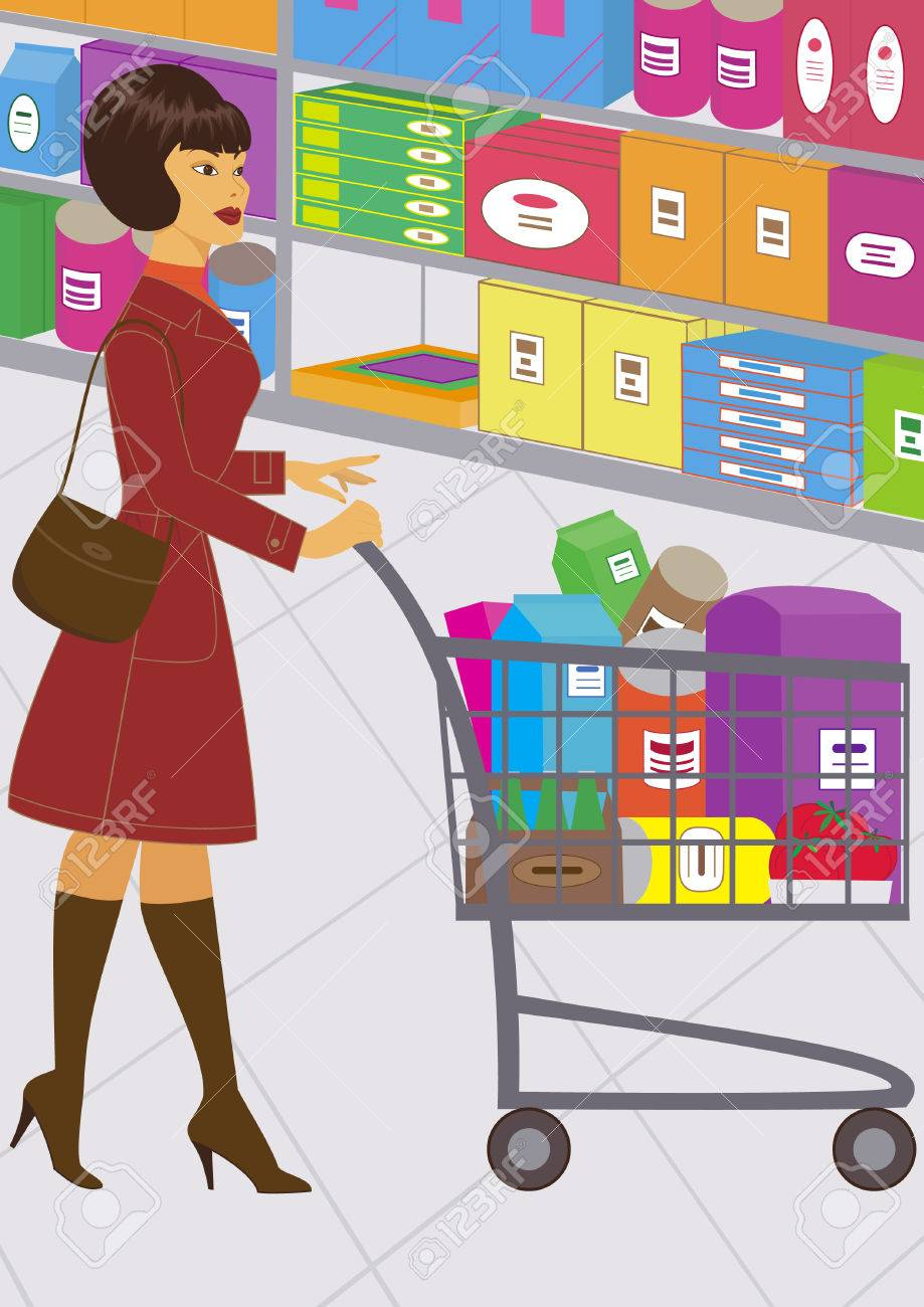 illustration of a pretty woman, who is shopping Stock Vector - 9069338