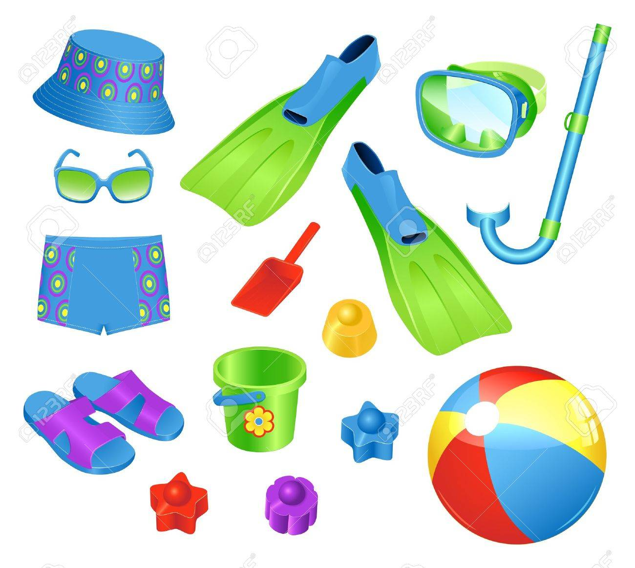 Colorful set of  beach accessories for boy Stock Vector - 9529455