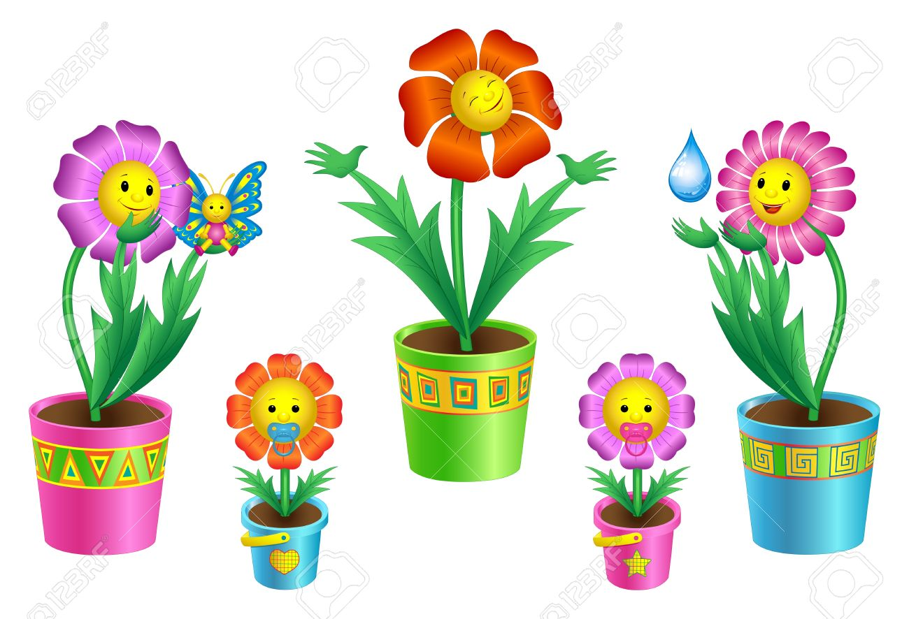 llustration of colorful cartoon flowers in flowerpots Stock Vector - 10049666