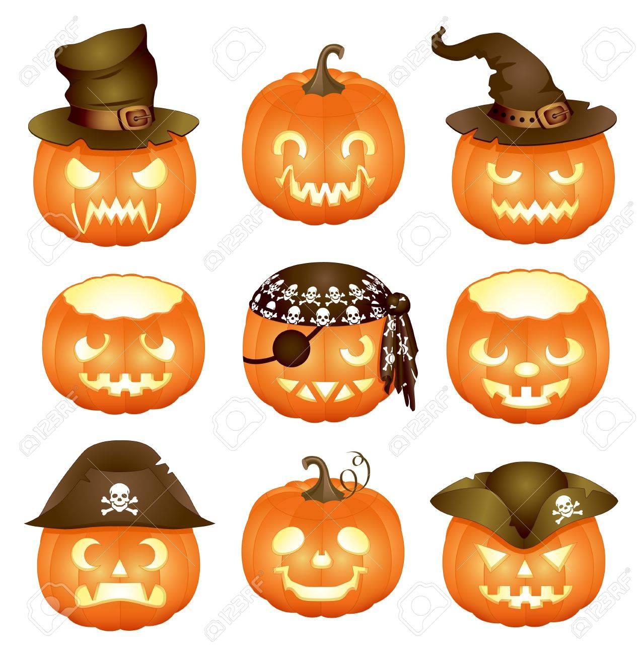 Set of Halloween pumpkins Stock Vector - 10724813