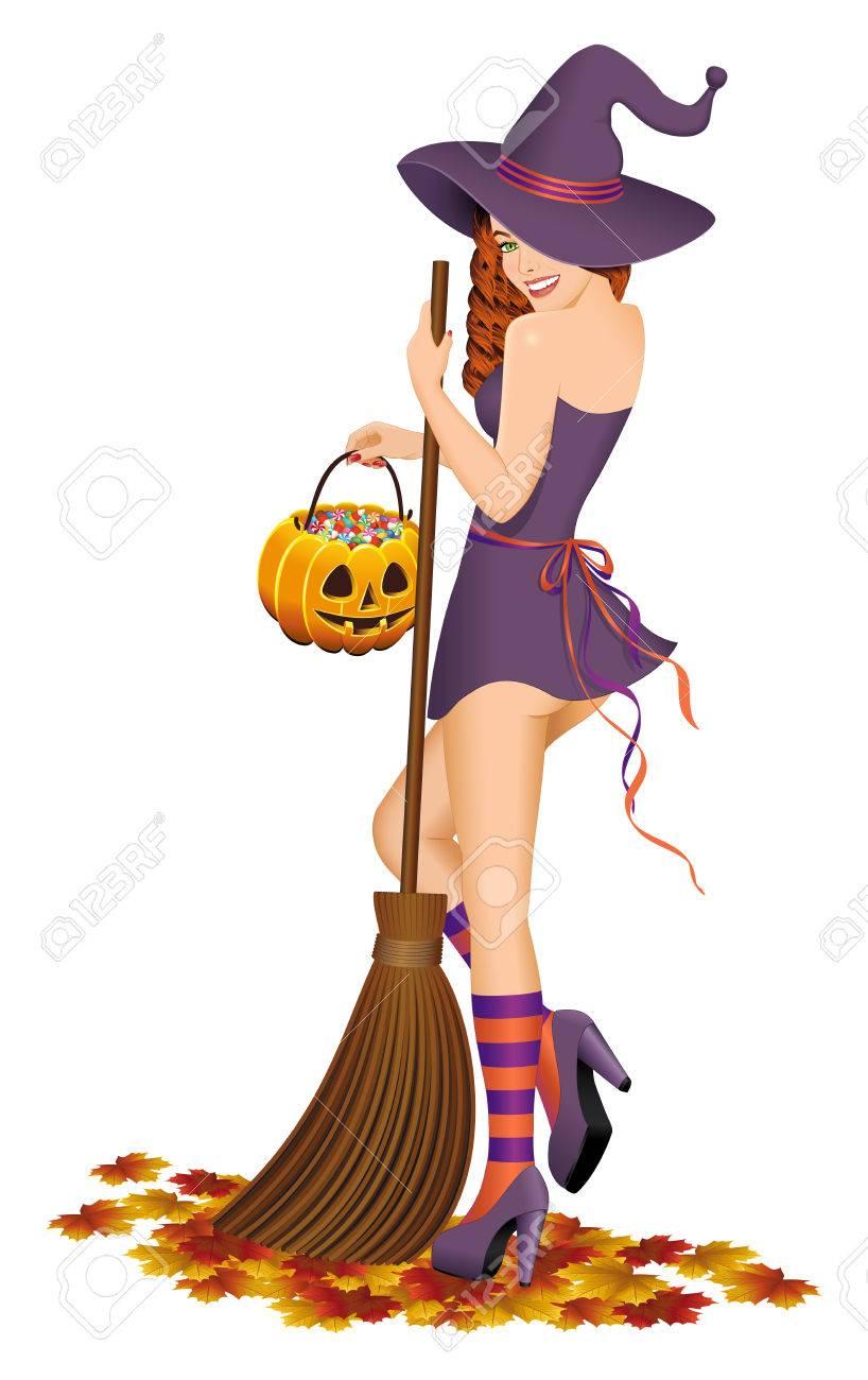 Schöne Hexe Mit Einem Besen Halloween Konzept Isoliert Auf Weißem