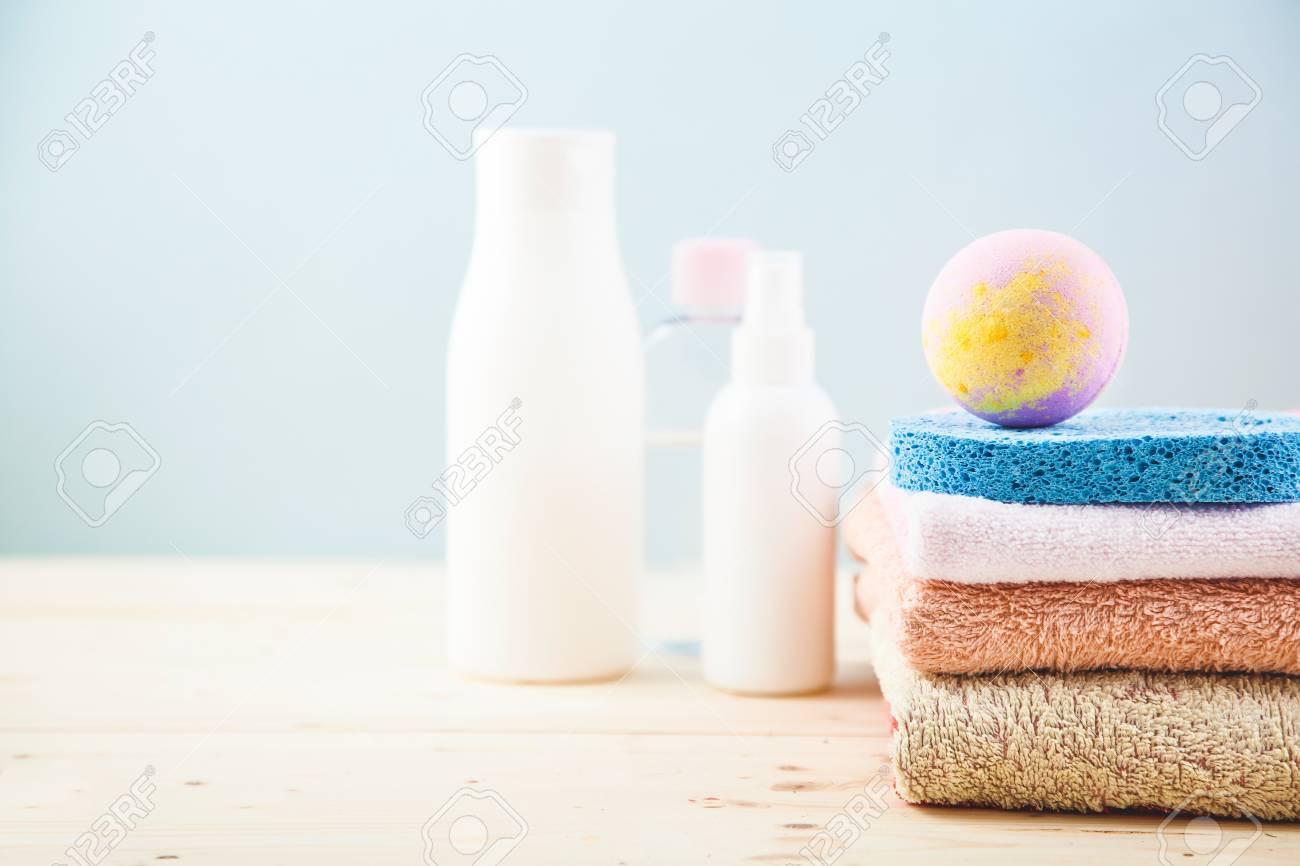 Bathroom Accessories - Towels, Cream, Bath Foam And Shampoos.. Stock ...