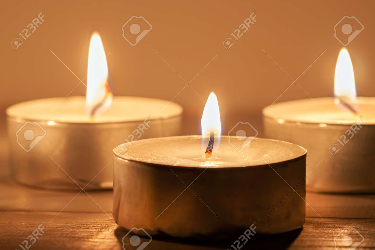 Three light candles with fire meditative relaxing macro wallpaper - 150295531