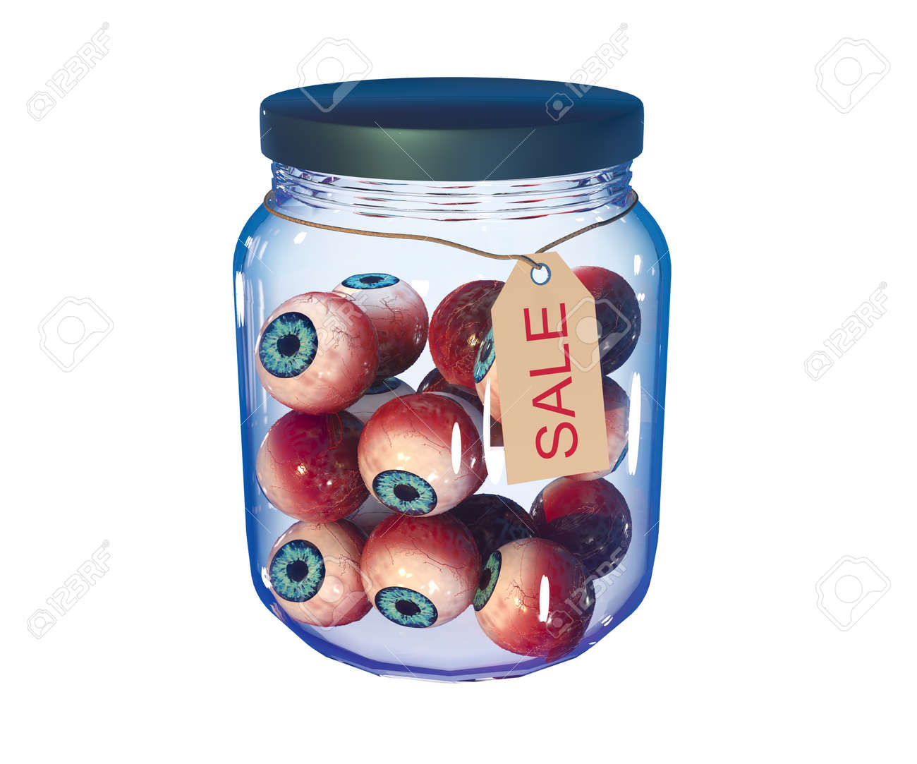 Eyes in a closed jar with the inscription sale. Isolated on white. 3d-rendering - 172282132