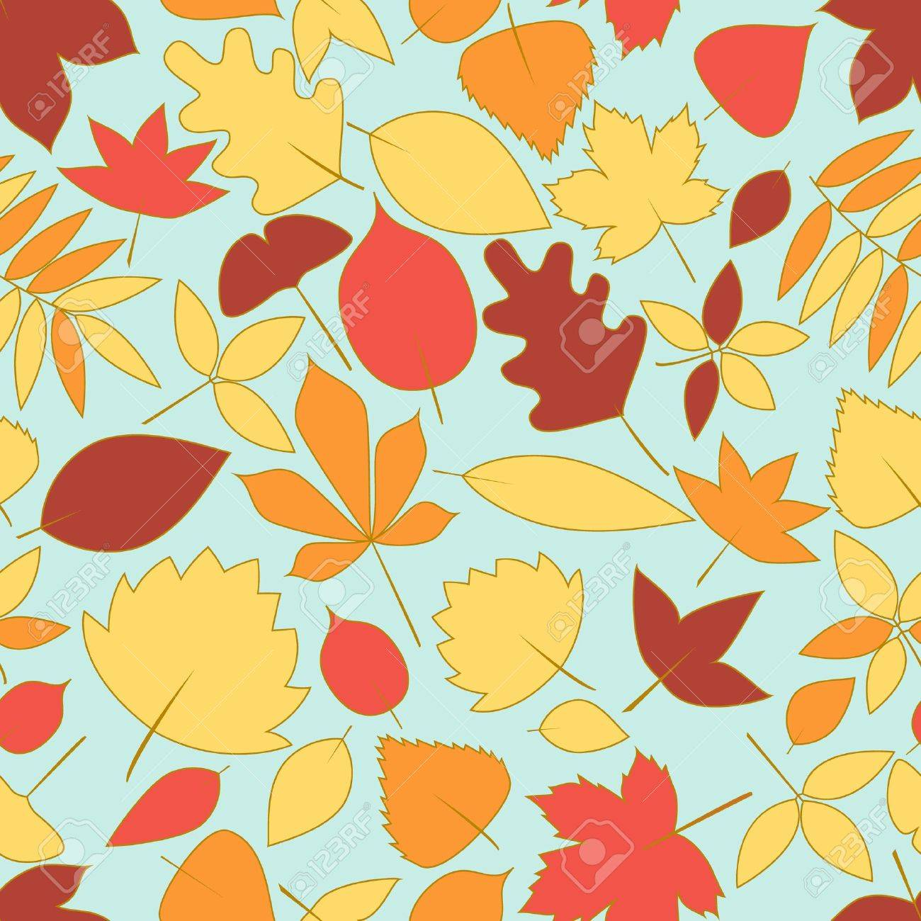Colorful autumn leaves seamless pattern Stock Vector - 14658317